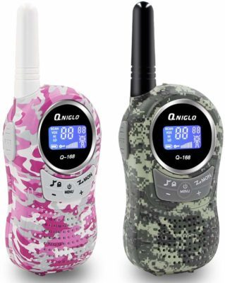 This is an image of a pink and green camouflage walkie talkies for kids by QNIGLO.