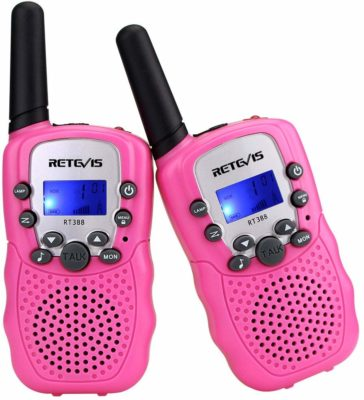 This is an image of a 2 piece pink walkie talkies for kids by Retevis,