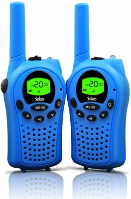 This is an image of a pair of blue walkie talkies for kids by Sokos.