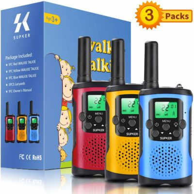 This is an image of a red, yellow and blue walkie talkies for kids by Supker.