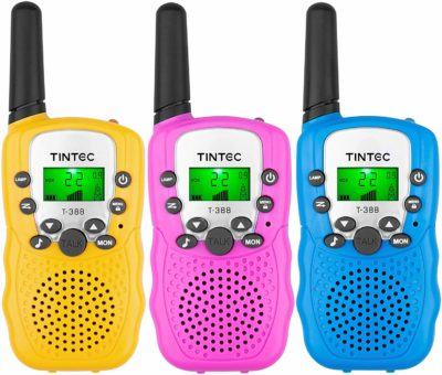 This is an image of a pink, yellow and blue walkie talkies for kids by Tintec.