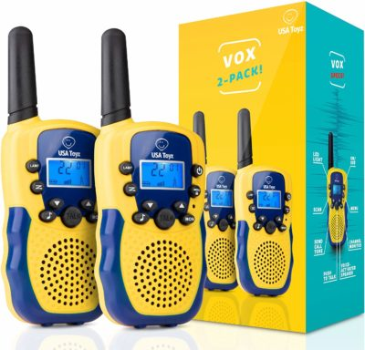 This is an image of a 2 yellow walkie talkies for kids by USA Toyz.