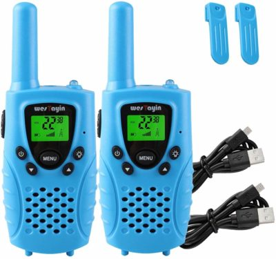 This is an image of a 2 pack blue walkie talkies for kids by Wes Tayin.