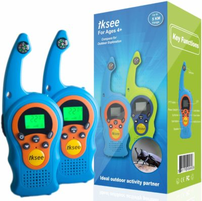 This is an image of a 2 piece blue walkie talkies for kids by iKsee.