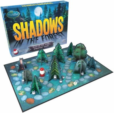 This is an image of a strategy board game called Shadows in the Forest by ThinkFun.
