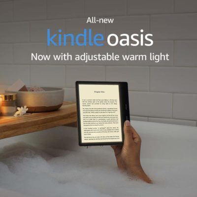 This is an image of a graphite Kindle Oasis.