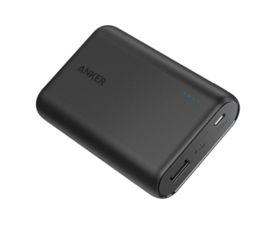 This is an image of a black power bank by Anker.