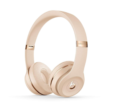 This is an image of a satin Gold wireless headsphones by Beats.