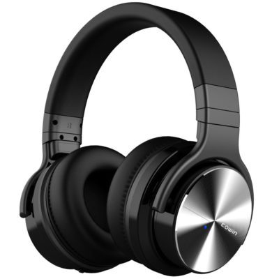 This is an image of a black noise cancelling headphones by Cowin.