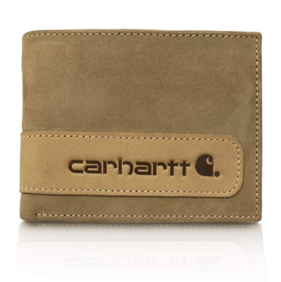 This is an image of a two tone brown leather wallet by Carhartt.