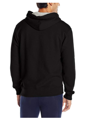 This is an image of a black pullover hoodie by Champion.