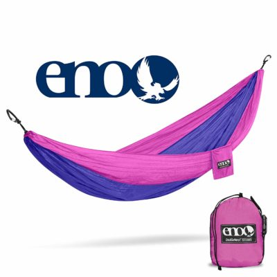 This is an image of a purple and fuchsia portable hammock by ENO.