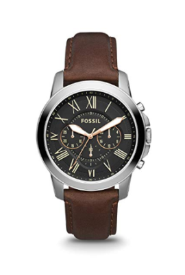 This is an image of a brown stainless watch by Fossil.