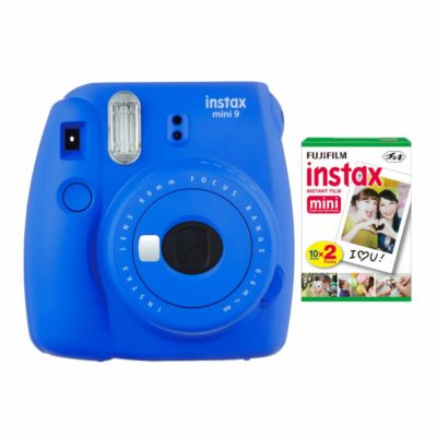 This is an image of a blue instant camera by Fujifilm