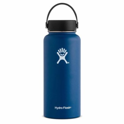 This is an image of a cobalt water bottle by Hydro Flask.