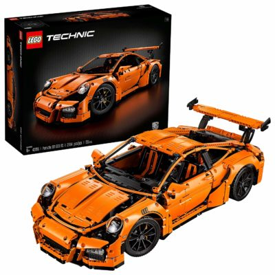 This is an image of a 2704 piece orange Porsche building kit.