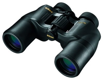 This is an image of a black binocular by Nikon.