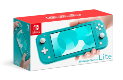 This is an image of a turquoise Nintendo Switch Lite.