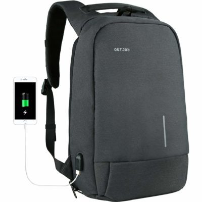 This is an image of a grey backpack by OUTJOY.