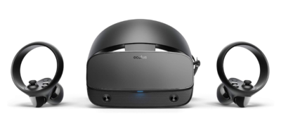 This is an image of a VR gaming headset set by Oculus.