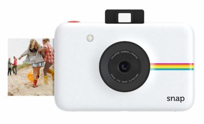 This is an image of a white Snap instant digital camera by Polaroid.