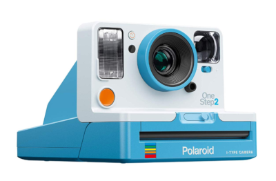 This is an image of a summer blue OneStep 2 VF camera by Polaroid