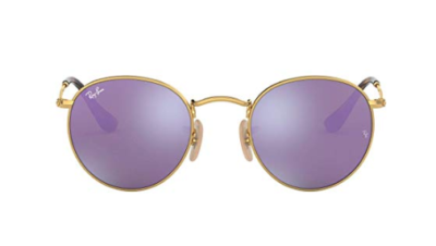 This is an image of a Lilac Flas with gold frame sunglasses by Ray Ban.