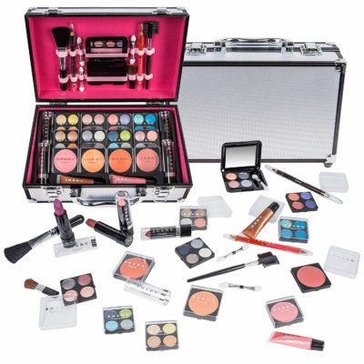 This is an image of a portable train case makeup kit by SHANY Cosmetics.