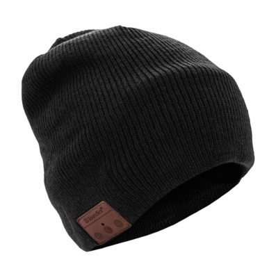 This is an image of a black Bluetooth beanie headset.
