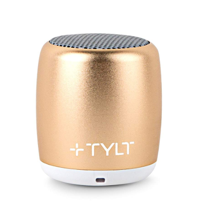 This is an image of a gold mini bluetooth speaker by TYLT.