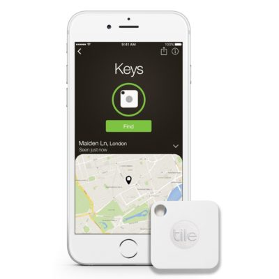 This is an image of a white bluetooth tracker.
