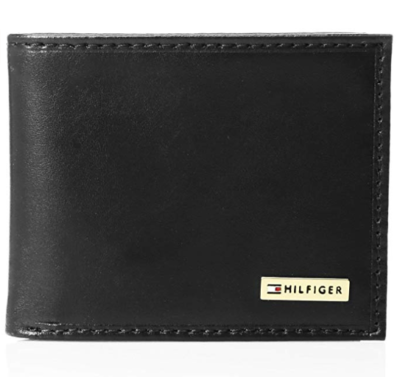 This is an image of a black plaque leather wallet.