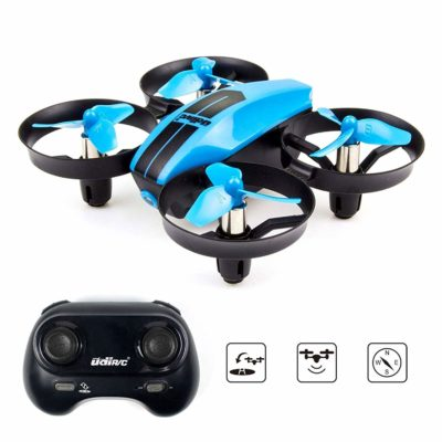 This is an image of a blue rc mini drone by UDI RC.