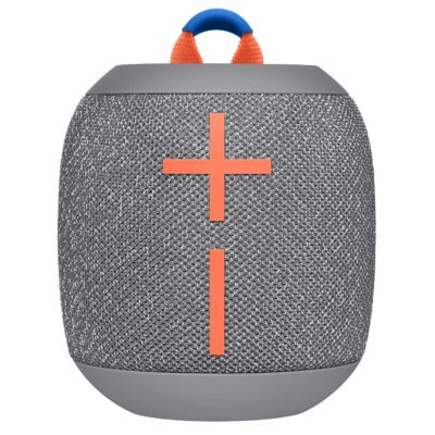 This is an image of a Crushed Ice Grey bluetooth speaker by Ultimate Ears.