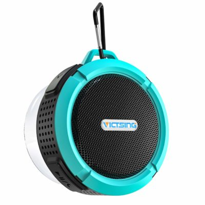 This is an image of a blue portable waterproof speaker by VicTsing.
