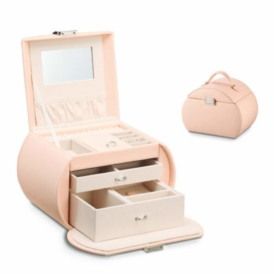 This is an image of a pink jewelry box by Vlando.