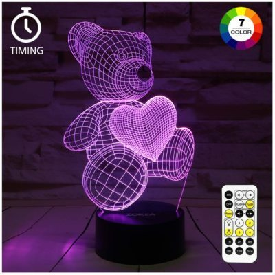 This is an image of a purple teddy bear night light by ZOKEA.