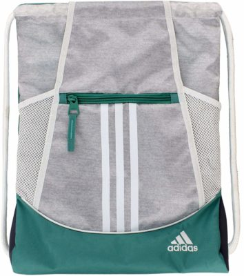 This is an image of a white and green sack pack for men.