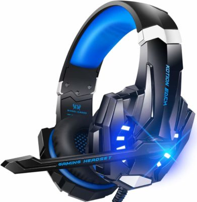This is an image of a blue gaming headset.