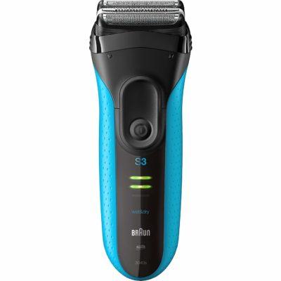 This is an image of a blue rechargeable electric razor for men.