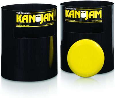 This is an image of a yellow portable frisbee with 2 Kan Jam,