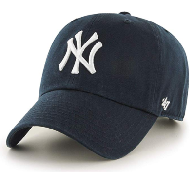 This is an image of a black New York Yankees hat.
