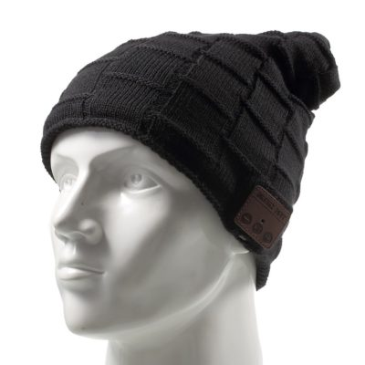 This is an image of a black with grid pattern beanie hat with built in headset.