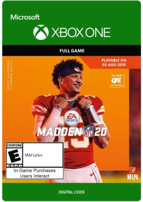 This is an image of a Madden NFL 20 Xbox one game.