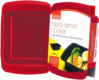 This is an image of a red microwaveable ramen cooker.