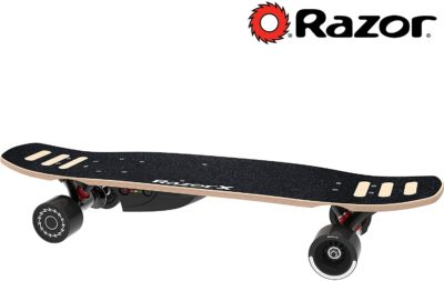 This is an image of a black electric Razor skateboard.
