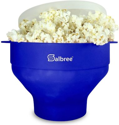 This is an image of a blue popcorn popper.