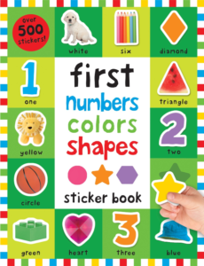 this is an image of first numbers colors and shapes stickers
