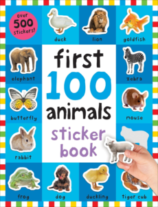 this is an image of a 100 first animals sticker book