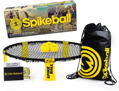 This is an image of a Spikeball playing net, 3 balls, drawsting bag and rule book set.